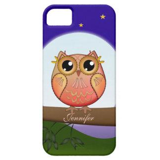 Búho lindo de la Luna Llena y nombre del personali iPhone 5 Cárcasa