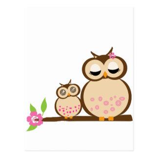 Búho lindo de la mamá y del bebé postales