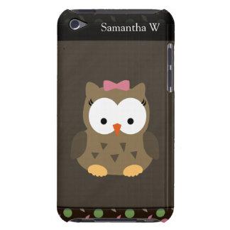 Búho lindo de la niña, rosado/verde/Brown iPod Touch Case-Mate Protector