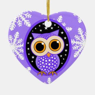 búho lindo de la púrpura de los copos de nieve ornamentos de reyes