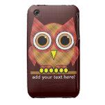búho lindo de la tela escocesa iPhone 3 Case-Mate carcasas