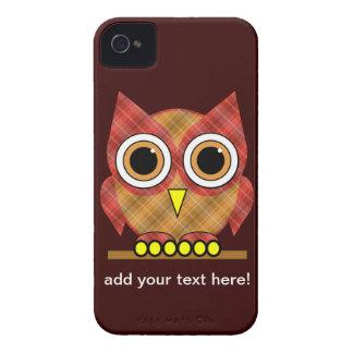 búho lindo de la tela escocesa Case-Mate iPhone 4 carcasa