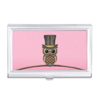 Búho lindo de Steampunk en una rama en rosa Cajas De Tarjetas De Presentación