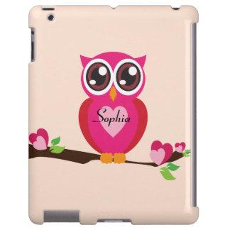 Búho lindo del amor con nombre de encargo funda para iPad