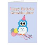 Búho lindo del cumpleaños de la nieta felicitación