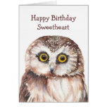 Búho lindo del cumpleaños divertido del amor - tarjetón