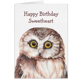 Búho lindo del cumpleaños divertido del amor - tarjeta de felicitación