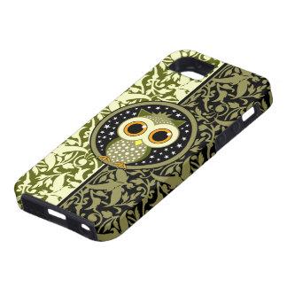 búho lindo del damasco verde iPhone 5 Case-Mate funda