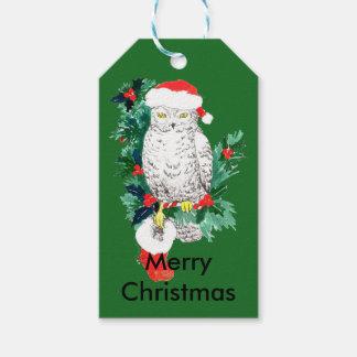 Búho lindo del día de fiesta del navidad con la etiquetas para regalos