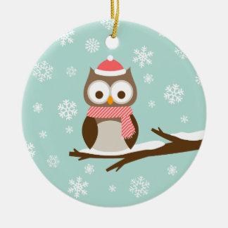 Búho lindo del día de fiesta Nevado Ornamentos De Navidad