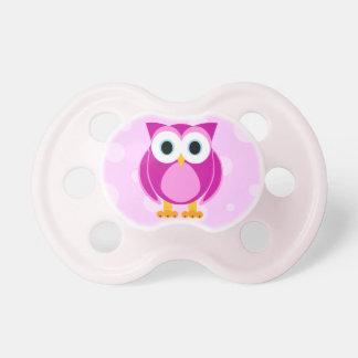 Búho lindo del dibujo animado - rosa chupete de bebé
