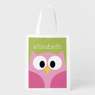 Búho lindo del dibujo animado - rosa y verde lima bolsas reutilizables