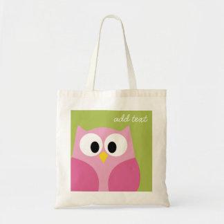 Búho lindo del dibujo animado - rosa y verde lima bolsas lienzo