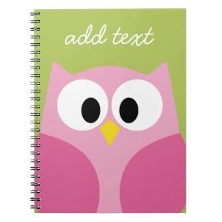 Búho lindo del dibujo animado - rosa y verde lima note book