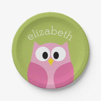 Búho lindo del dibujo animado - rosa y verde lima plato de papel de 7 pulgadas