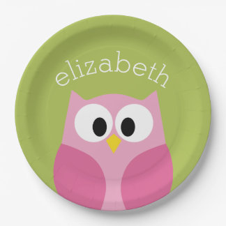 Búho lindo del dibujo animado - rosa y verde lima plato de papel de 9 pulgadas