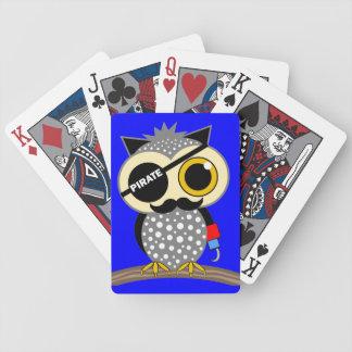 búho lindo del pirata cartas de juego