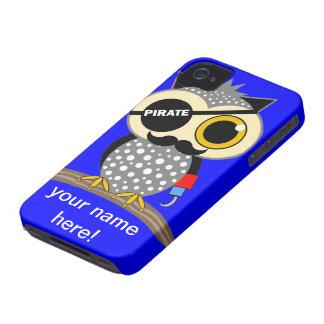 búho lindo del pirata iPhone 4 funda