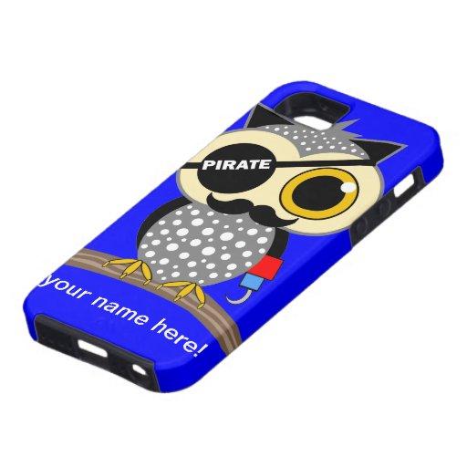 búho lindo del pirata iPhone 5 carcasa