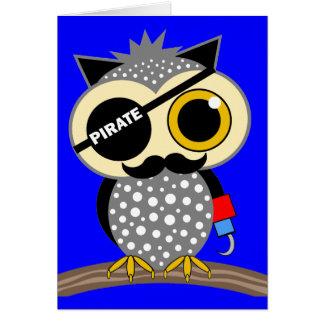 búho lindo del pirata tarjeta de felicitación