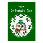 Búho lindo del trébol del día de St Patrick feliz  Tarjeton
