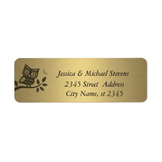 Búho lindo elegante de oro etiqueta de remitente