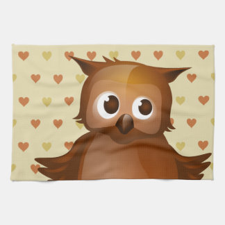Búho lindo en fondo beige del modelo del corazón toalla