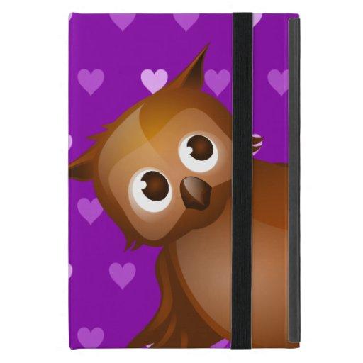 Búho lindo en fondo del modelo de Purple Heart iPad Mini Cárcasa