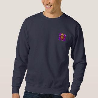 Búho lindo en fondo del modelo de Purple Heart Sudadera