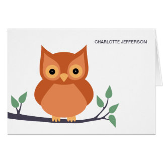 Búho lindo en tarjetas de nota personalizadas rama