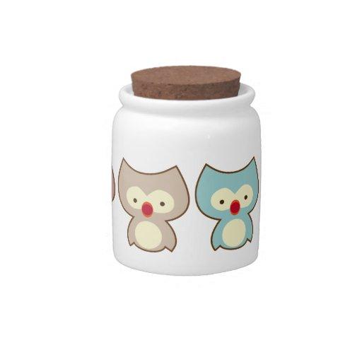 búho lindo jarras para caramelos