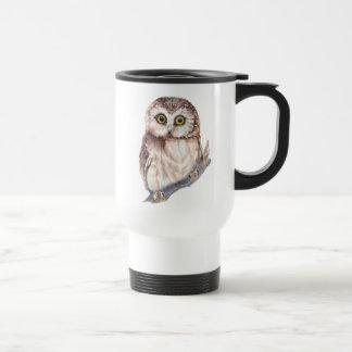 Búho lindo - pájaro de la acuarela, naturaleza, fa tazas