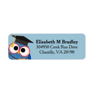 Búho lindo personalizado de la graduación - azul etiqueta de remitente