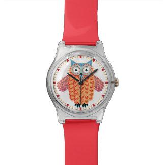 Búho lindo que dibuja rojo colorido + Azul Reloj De Mano