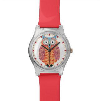Búho lindo que dibuja rojo colorido + Azul Relojes De Mano