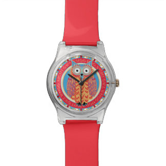 Búho lindo que dibuja rojo colorido del pitido de reloj
