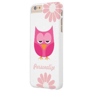 Búho lindo y flores rosados personalizados funda de iPhone 6 plus barely there