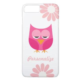 Búho lindo y flores rosados personalizados funda iPhone 7 plus