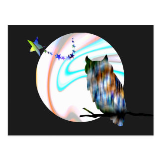 Búho, luna, y estrellas tarjeta postal