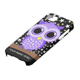 búho manchado púrpura linda iPhone 5 Case-Mate cobertura