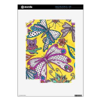 Búho, mariposa y floral en fondo amarillo calcomanía para iPad 2