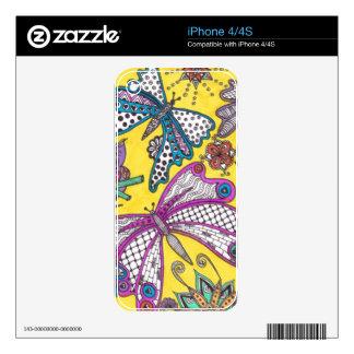 Búho, mariposa y floral en fondo amarillo calcomanía para iPhone 4S