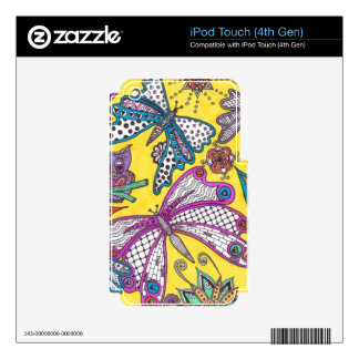 Búho, mariposa y floral en fondo amarillo iPod touch 4G calcomanías