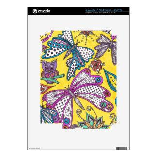 Búho, mariposa y floral en fondo amarillo pegatina skin para iPad 3