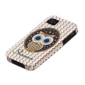 búho marrón lindo vibe iPhone 4 carcasas