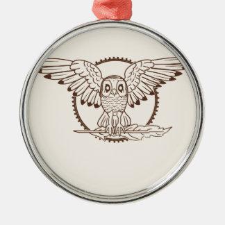 Búho místico en vuelo adorno navideño redondo de metal