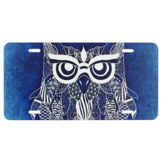 Búho moderno azul placa de matrícula