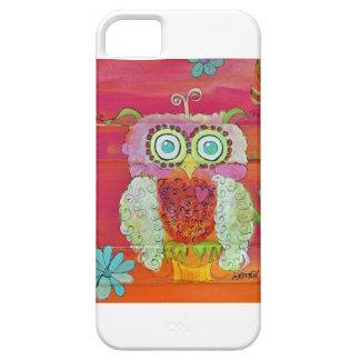 Búho mullido en rosas y naranjas funda para iPhone SE/5/5s