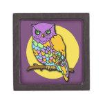 Búho multicolor en púrpura y amarillo caja de joyas de calidad