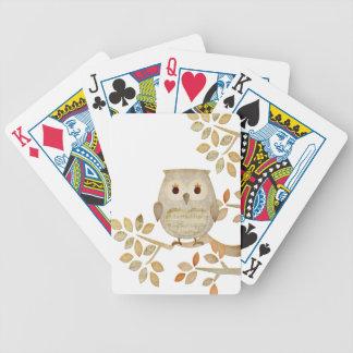 Búho musical del árbol baraja cartas de poker